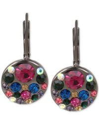 Betsey Johnson | Multicolor Hematite-tone Multi-crystal Disc Drop Earrings | Lyst