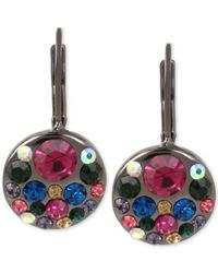 Betsey Johnson | Multicolor Hematite-tone Multi-crystal Disc Drop Earrings | Lyst