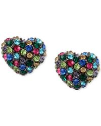 Betsey Johnson | Blue Hematite-tone Multi-crystal Heart Stud Earrings | Lyst
