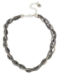 Betsey Johnson | Metallic Silver-tone Braided Crystal Mesh Collar Necklace | Lyst