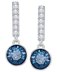 Swarovski | Silver-tone Blue Crystal And Pave Linear Drop Earrings | Lyst