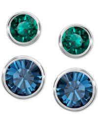 Swarovski | Silver-tone 2-pc. Set Blue And Green Crystal Stud Earrings | Lyst
