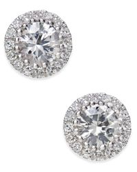 Macy's | White Sapphire (5/8 Ct. T.w.) And Diamond (1/10 Ct. T.w.) Stud Earrings In 14k White Gold | Lyst