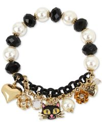 Betsey Johnson | Two-tone Black Cat Beaded Charm Bracelet | Lyst