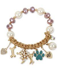 Betsey Johnson | Purple Gold-tone Beaded Poodle Charm Bracelet | Lyst