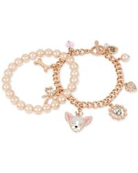 Betsey Johnson | Pink Rose Gold-tone 2-pc. Set Imitation Pearl And Dog Charm Bracelets | Lyst