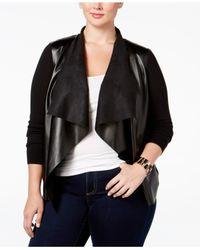 Michael Kors | Black Michael Plus Size Faux-leather-front Cardigan | Lyst