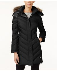 Kenneth Cole | Black Faux-fur-trim Chevron Quilted Down Coat | Lyst