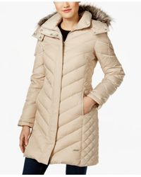 Kenneth Cole | Natural Faux-fur-trim Chevron Quilted Down Coat | Lyst