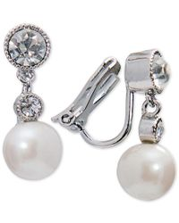 Lauren by Ralph Lauren | Metallic Silver-tone Imitation Pearl And Crystal Drop Clip-on Earrings | Lyst