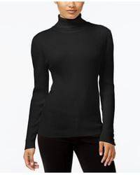 Style & Co. | Black Petite Ribbed Turtleneck Sweater | Lyst
