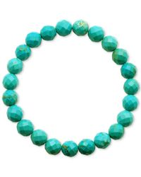 Macy's | Green Faceted Bead Aqua Stone Stretch Bracelet | Lyst