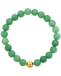 Macy's | Gold-tone Faceted Bead Green Stone Stretch Bracelet | Lyst