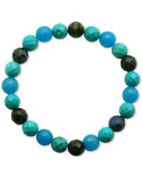 Macy's | Faceted Bead Blue And Black Stone Stretch Bracelet | Lyst