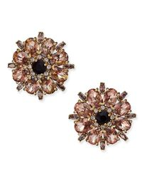kate spade new york | Metallic Gold-tone Crystal Flower Stud Earrings | Lyst