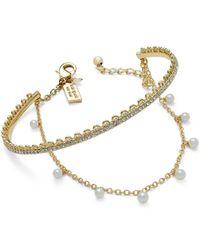 kate spade new york | Metallic Gold-tone Imitation Pearl Bangle Bracelet | Lyst