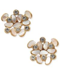 Kate Spade | Metallic Gold-tone Mother-of-pearl And Crystal Stud Earrings | Lyst