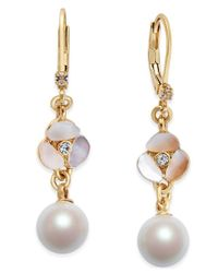 kate spade new york | Metallic Gold-tone Imitation Pearl Decorative Drop Earrings | Lyst