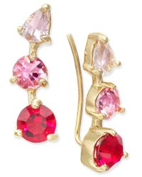 kate spade new york | Pink Gold-tone Multi-stone Ear Climbers | Lyst