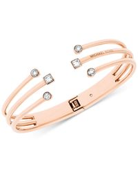 Michael Kors | Pink Crystal Cuff Hinged Bracelet | Lyst