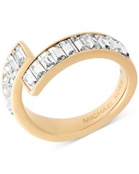 Michael Kors - Metallic Baguette Crystal Bypass Statement Ring - Lyst