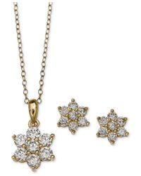 Giani Bernini | Metallic Cubic Zirconia Flower Pendant Necklace And Stud Earrings Set In 18k Gold-plated Sterling Silver, Only At Macy's | Lyst