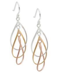 Giani Bernini | Metallic Tri-tone Multi-hoop Drop Earrings In 18k Gold-plate, Rose Gold-plate, And Sterling Silver, Only At Macy's | Lyst