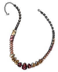 ABS By Allen Schwartz | Multicolor Hematite-tone Multi-crystal Collar Necklace | Lyst