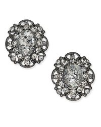 ABS By Allen Schwartz | Metallic Hematite-tone Crystal Filigree Stud Earrings | Lyst