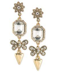 ABS By Allen Schwartz   Metallic Linear Crystal Drop Earrings   Lyst