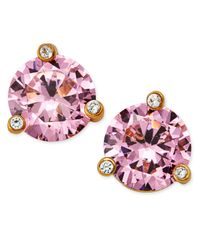 kate spade new york | Gold-tone Pink Crystal Stud Earrings | Lyst