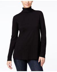 Kensie | Black Long-sleeve Pleated-contrast Turtleneck | Lyst
