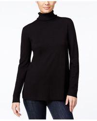 Kensie | Black Pleated-back Turtleneck Sweater | Lyst