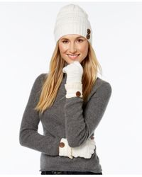 Rampage | White Slouchy Button Beanie And Gloves Set | Lyst