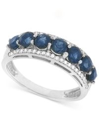 Macy's - Multicolor Sapphire (1-3/8 Ct. T.w.) And Diamond (1/8 Ct. T.w.) Ring In 14k White Gold - Lyst