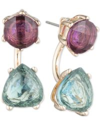 Anne Klein - Metallic Gold-tone Purple And Blue Stone Front And Back Earrings - Lyst