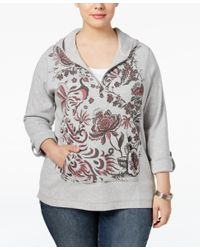 Style & Co. | Gray Plus Size Printed Half-zip Hoodie, Only At Macy's | Lyst