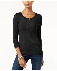 INC International Concepts | Black Zip-up Ribbed Sweater, Only At Macy's | Lyst
