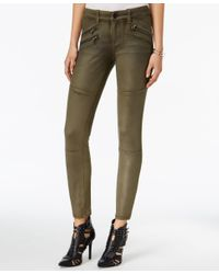 William Rast | Green Faux-suede Moto Pants | Lyst