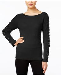 INC International Concepts | Black Lace-up Sweater, Only At Macy's | Lyst