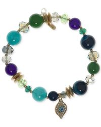 Lonna & Lilly | Green Gold-tone Beaded Stretch Bracelet | Lyst