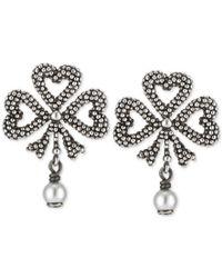 Gucci | Women's Aureco Black Finish Sterling Silver Imitation Pearl Drop Earrings Ybd43467600100u | Lyst