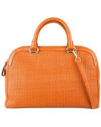 Cole Haan | Orange Leesa Weave Double Zip Satchel | Lyst