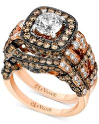 Le Vian | Metallic White Diamond (1-3/8 Ct. T.w.) And Chocolate Diamond (2-1/5 Ct. T.w.) Engagement Ring Set In 14k Rose Gold | Lyst