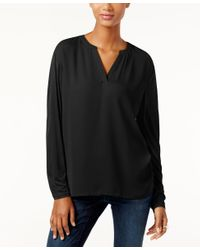 INC International Concepts | Black Dolman-sleeve Split-neck Top, Only At Macy's | Lyst