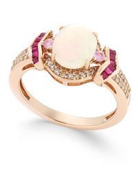 Macy's | Opal (1 Ct. T.w.), Ruby (1/3 Ct. T.w.), Diamond (1/5 Ct. T.w.) And Pink Sapphire (1/10 Ct. T.w.) Ring In 14k Rose Gold | Lyst