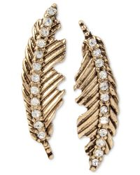 Betsey Johnson | Metallic Gold-tone Feather Crystal Accent Mismatch Earrings | Lyst