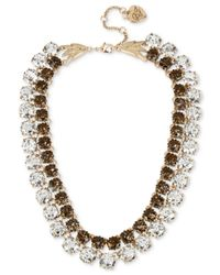 Betsey Johnson - Metallic Gold-tone Patina Crystal Two Layer Collar Necklace - Lyst