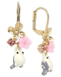 Betsey Johnson | Metallic Gold-tone Bird And Flower Drop Earrings | Lyst