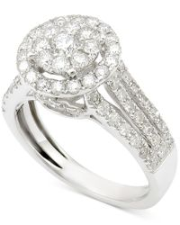 Macy's | Diamond Round Cluster Engagement Ring (1-1/2 Ct. T.w.) In 14k White Gold | Lyst